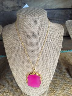 24k gold plated pink agate necklace.  Only $25