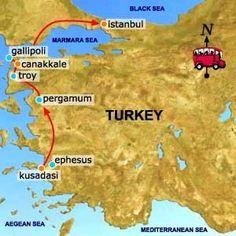 Map of Turkey. I went to Kusadasi and Ephesus.