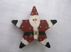 Wood star shaped painted Santa Claus by QuaintCollectibles on Etsy, $7.99