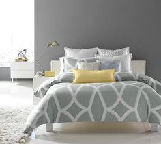We love this yellow & gray palette in this #bedroom! | Bedroom ...
