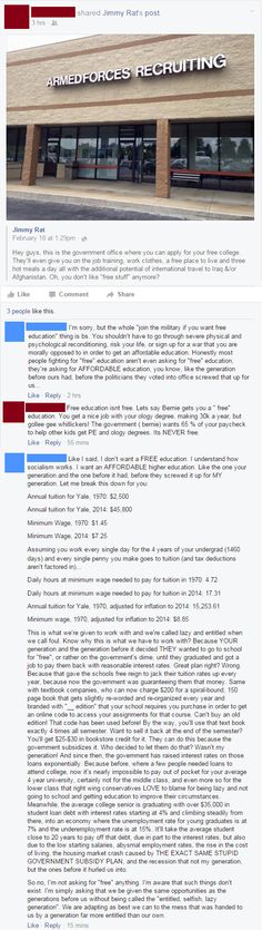 "Facebook user ""Jimmy Rat"" is really regretting posting a smug Facebook post mocking Bernie supporters who want affordable education."