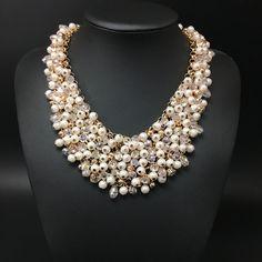 2015 haute qualité cristal complet collier de perles femmes travail manuel choker collier fashion collier chaîne de bijoux gros dans Pendentifs de Bijoux sur AliExpress.com | Alibaba Group