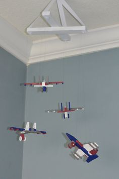 Jet Airplane Nursery Baby Boy Mobile -  Red Blue White and Gray - by FlutterBunnyBoutique Military Air Force Navy USAF USNA