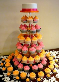 Orange and pink  #wedding cupcakes ... Wedding ideas for brides, grooms, parents & planners ... https://itunes.apple.com/us/app/the-gold-wedding-planner/id498112599?ls=1=8 … plus how to organise an entire wedding ♥ The Gold Wedding Planner iPhone App ♥