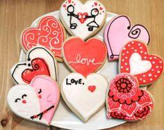 Galletas de San Valentín por MommaMissisCookies en Etsy
