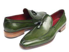 Paul Parkman Men's Tassel Loafer Green Hand Painted Leather