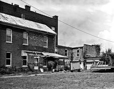 Large format black and white film photograph of a building in Cairo, IL. Fine Art Photography Prints and Wall Art.