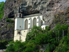 "The Felsenkirche (""Church of the Rock"") , a church built into a natural niche in  the rocks, rises high above the houses of Oberstein.  Nicely blends into the mountain, making all this place magical."