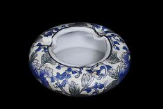Chinese Canton Blue And White Ashtray