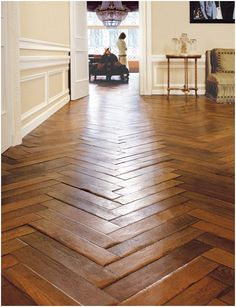 Flooring by Exquisite Surfaces I called and got a quote from Fabrice- $26k for 1500sf of wood. ugh! Style At Home, Wooden Flooring, Hardwood Floors, Parquet Flooring, Flooring Ideas, Kitchen Flooring, Planchers En Chevrons, Floor Design, House Design