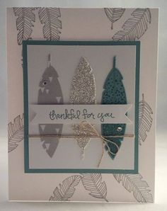 Stampin up four feathers card by Gloria Kremer holiday 2014 catalog Facebook Girlfriend Originals for more of my cards