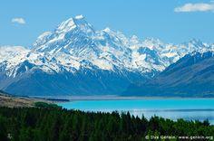 Great View of Aoraki, Mount Cook as seen from Lake Pukaki - New Zealand.