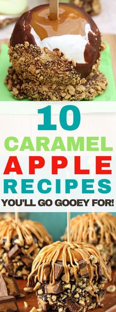 10 Caramel Apple Recipes You'll Go Gooey For! It's fresh apple season - If you are looking for Fall desserts using apples try some of the best caramel apple recipes using sweet apples. Best Caramel Apple Recipe, Apple Recipes, Fall Recipes, Baking Recipes, Holiday Recipes, Mini Desserts, Fall Desserts, Delicious Desserts, Desserts Caramel