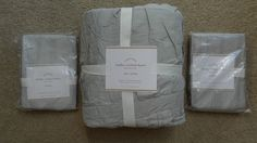 $275 Pottery Barn Hadley Ruched Duvet Cover & 2 Shams  GRAY MIST  KING  New! #PotteryBarn #Ruched