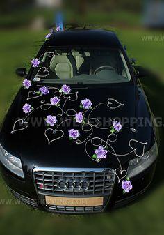 fleurs roses de la canne et des marguerites voiture mariage balai - Decoration Capot Voiture Mariage