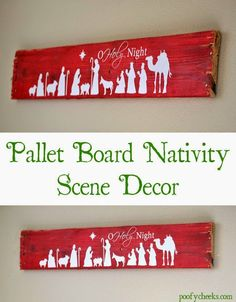 Pallet Board Christmas nativity scene decoration. Apply vinyl to a pallet board for instant wall décor.