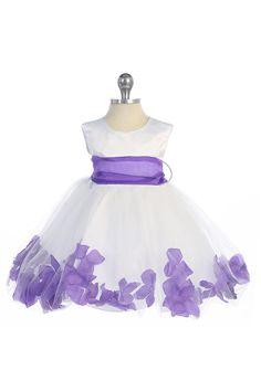 Purple Infant Satin & Tulle Flower Girl Dress with Petals & Sash G2570B-PP $39.95 on www.GirlsDressLine.Com