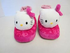 Hello Kitty Slippers L Large 9/10 Pink Sock Top #Slippers