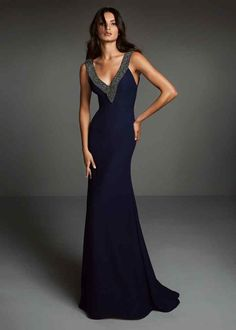 Front of blue long cocktail dress with v-neckline and silver beads Pronovias Fit N Flare Dress, Bridal Dresses, Bridesmaid Dresses, Long Cocktail Dress, Cocktail Dresses, Mermaid Evening Dresses, Popular Dresses, Formal Gowns, Black Prom Dresses
