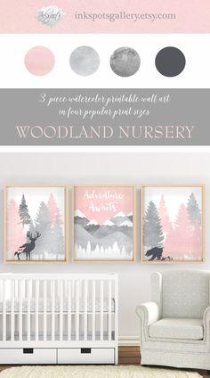 Girl Woodland Nursery Printable Wall Art