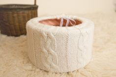 DIY photography props newborn Recycle a sweater and make your own textured sweater basket!