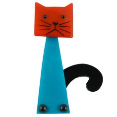 Marie Christine Pavone Hand Painted, Galalith - Blue, Orange Cat Brooch Pin