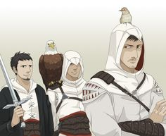 The trusty birdie sidekicks. - the only complaint I have is it being a bald eagle. I am personally a lot more fond of the golden eagle with Altair :)