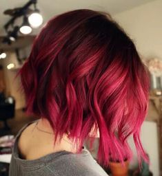For clients who want to make a bold change in the new year, check out this vibrant magenta melt from Annie Francis ( a colorist at Rose + Mae Hair in Atlanta, Ga. This rich, canR… Red Pink Hair, Red Hair Color, Cool Hair Color, Purple Wig, Vibrant Hair Colors, Hair Dye Colors, Hair Inspo, Hair Inspiration, Light Hair