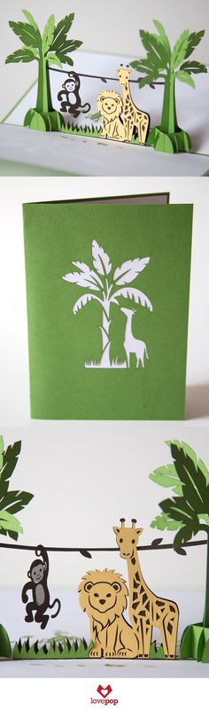 light up the party with this cute set of safari animals! Perfect as a birthday pop up card for a kid or as an invite to a baby shower.