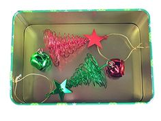 Oh Christmas Tree 3 Piece Holiday Bundle - Wire Tree Ornaments and Tree Tin for Cookies, Sweets, Treats, and Storage