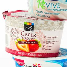 365 Everyday Value Nonfat Greek Yogurt with Strawberry A separate compartment for strawberry jam lets you control the balance between sweet and tart. (150 calories)