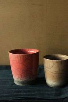 red and brown cups as vases?