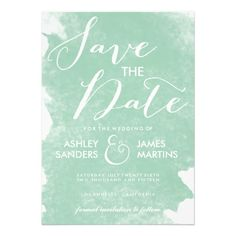 CHIC MINT GREEN WATERCOLOR SAVE THE DATE PERSONALIZED INVITE