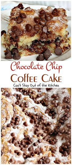 Chocolate Chip Coffee Cake | Can't Stay Out of the Kitchen | this easy & delicious #coffeecake has a #cinnamon & #chocolatechip layer in the middle & on top. It's super delicious.