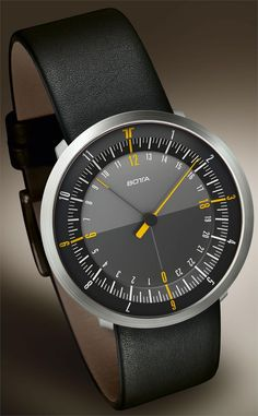Botta Duo 24 Duo 24 watch by Germany´s Botta Design is the world's first dual one-hand watch featuring dual time zones. It shows both the local time and the time at one additional time zone, using just one hand in each case.  The main hand is a 12 hour hand referencing the 12 hour markers, and the secondary hand is a 24 hour hand referencing the 24 hour ring.    Two relevant times can thus be checked easily at a glance.