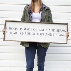 A House is Made of Walls and Beams | Wood Sign farmhouse signs, rustic signs, fixer upper style, home decor, rustic decor, inspiring quotes, wood sign sayings, magnolia market, rustic signs, boho, boho style, eclectic living, living room inspiration, gallery wall decor, gallery wall signs, joanna gaines decor