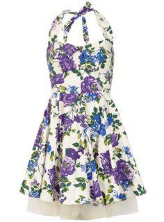 Purple print prom dress