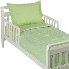 The 4 Piece Toddler Bedding Set includes: comforter (top - celery star, back - celery stripe,) fitted sheet (celery stripe,) flat sheet (celery) and pillowcase (celery). The hugger comforter measures 51 inches x 40 inches, and hugs the end of the mattress for a snug fit. The flat and fitted sheets are designed to fit a standard size 28 inch x 52 inch crib/toddler mattress. The fitted sheet has elastic all around and the top sheet has elastic on one end for a secure fit. The pillow case ...