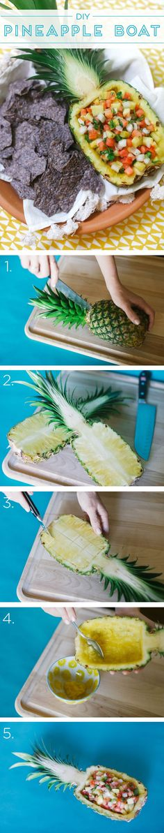 Present dip in a #DIY pineapple boat for maximum wow-factor! Pair with @Food Should Taste Good for a more healthy take on chips & dip.