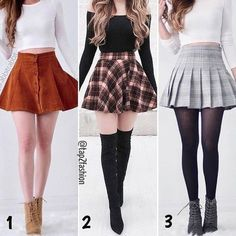 """2 or 3 ? Thanks for enjoying our outfits! (Search """"Lisa"""", """"Brenda"""", """"Plaid"""" on ShopMangoRabbit for thes 2 or 3 ? Thanks for enjoying our outfits! (Search """"Lisa"""", """"Brenda"""", """"Plaid"""" on ShopMangoRabbit for. Teen Fashion Outfits, Cute Fashion, Skirt Fashion, Stylish Outfits, Fall Outfits, Classy Teen Fashion, Fashion Ideas, Cute Skirt Outfits, Winter Skirt Outfit"""