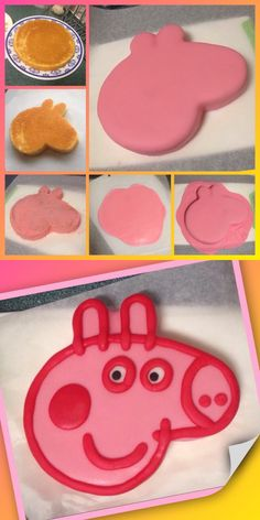 PEPPA PIG CAKE!! One of my very first fondant covered cakes. (1) bake a cake using your favourite cake recipe or store bought, doesn't matter. (2) once cooled, glad wrap it and place into freezer for a little bit just to harden it up making the cutting process much neater and easier without breakage on the sides etc. (3) print out a picture of Peppa pigs face making sure it's the same size or smaller than your cake. (4) using a serrated knife and carefully cut out the face. (5) give it a…
