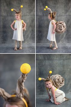 DIY #Kids Snail costume #Halloween - a simple leotard or cover and some rolled and shaped craft paper