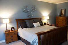 Sherwin Williams Meditative - love Pinterest for previewing my new bedroom before I make it a reality! Furniture will be dark espresso colors though...