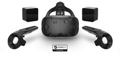 The HTC Vive which competes with the Oculus Rift in the VR scene. The HTC Vive headset, two motion controllers, and two motion-tracking base stations. Virtual Reality Systems, Virtual Reality Headset, Augmented Reality, Vr Headset, Htc Vive, Xbox One, Wii, Macbook, Virtual Reality