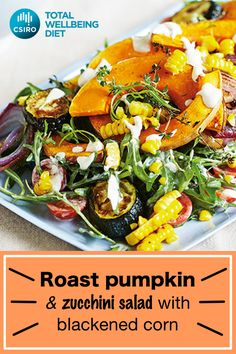 Cook the vegetables until they start to darken around the edges to give this hearty salad a delicious smoky flavour. Pumkin Recipes, Raw Food Recipes, Salad Recipes, Vegetarian Recipes, Dinner Recipes, Cooking Recipes, Healthy Recipes, Delicious Recipes, 1200 Calorie Meal Plan
