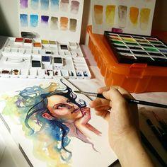 I still feel like I have no idea what I'm doing lol  #watercolor #wip #studio