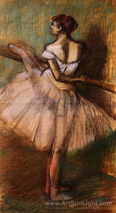Edgar Degas Dancer at the Barre II painting for sale - Edgar Degas Dancer at the Barre II is handmade art reproduction; You can buy Edgar Degas Dancer at the Barre II painting on canvas or frame. Edgar Degas, Degas Ballerina, Ballerina Feet, Claude Monet, Degas Drawings, Degas Paintings, Mary Cassatt, Camille Pissarro, Pierre Auguste Renoir