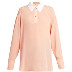 Stella McCartney Contrast collar silk-crepe blouse ($296) ❤ liked on Polyvore featuring tops, blouses, stella mccartney, nude, crop top, pink top, pink blouse and longline tops