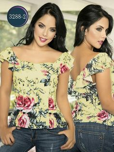 Blusa Moda Colombiana Thaxx - Ref. 119 Blanco Blusa Moda Colombiana Thaxx - Ref. Blouse Styles, Blouse Designs, Sewing Blouses, Fashion Art, Womens Fashion, Summer Looks, Refashion, Glamour, Casual