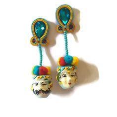 Orecchini ceramica orecchini in soutache   teste di Ullallabijoux